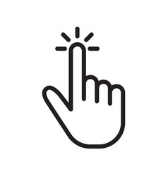 hand touch tap or click line icon vector image