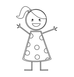 Happy girl icon stick figure vector