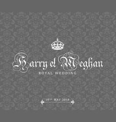 Harry and meghan royal wedding card vector
