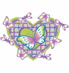 heart and butterflies vector image