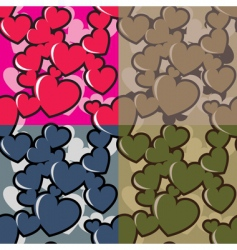 hearts camouflage vector image