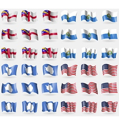 Herm San Marino Antarctica USA Set of 36 flags of vector