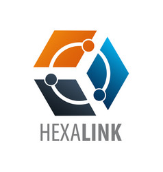 hexagon link technology logo concept design vector image