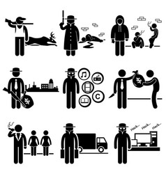 Illegal activity crime jobs occupations careers vector