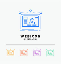 interface website user layout design 5 color line vector image