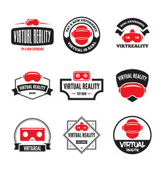 isolated vr headset logotype set virtual reality vector image