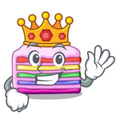 king rainbow cake in ice mascot cupboard vector image