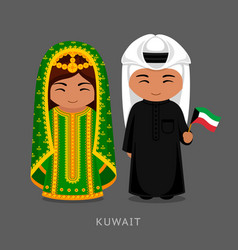 kuwaitis in national dress with a flag vector image
