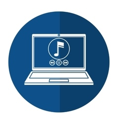 laptop music player app modern shadow vector image