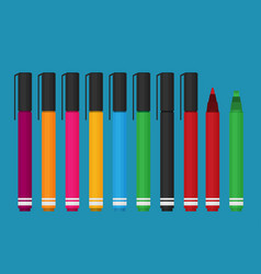 markers pen set flat style vector image