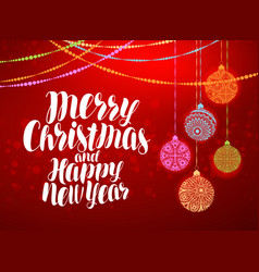 Merry christmas and happy new year decorative vector