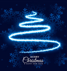 merry christmas light snowflake and tree vector image