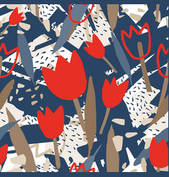 Modern seamless pattern with rough abstract shapes vector