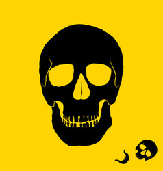 monochrome of skull on yellow vector image