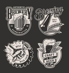 Monochrome vintage brewery badges vector