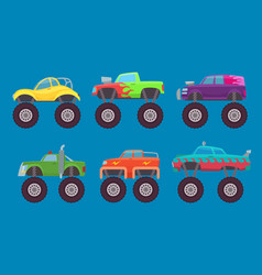Monster truck cars automobiles with big wheels vector