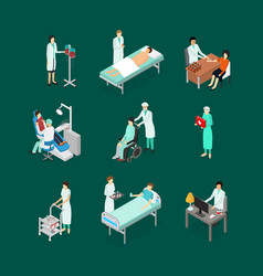 Nurses attending patients icons set isometric view vector
