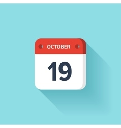 October 19 Isometric Calendar Icon With Shadow vector image