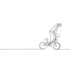 one single line drawing young bmx bicycle vector image
