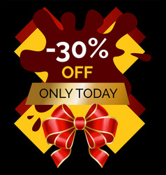 Only today 30 percent off price discount banner vector
