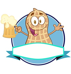 Peanut holding a beer vector image