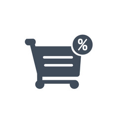 Percentage symbol in shopping cart icon isolated vector