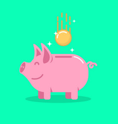 Piggy bank with coin in flat style design element vector