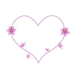 Pink Crocus Sativus Flowers in A Heart Shape vector