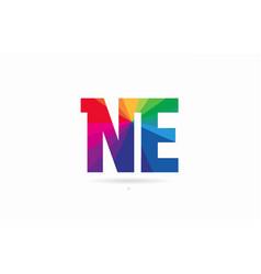 Rainbow colored alphabet combination letter ne n vector