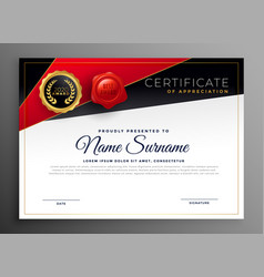 red black diploma certificate design vector image