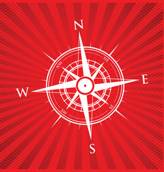 Red compass background vector