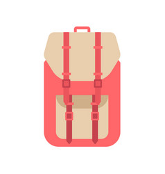 red school backpack in flat style backpack with vector image