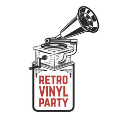 Retro vinyl party vintage style gramophone design vector