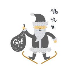 Santa claus on ski with gift bag screaming hohoho vector