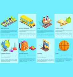 school-related collection of posters with text vector image