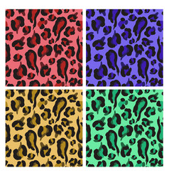 seamless pattern with colorful leopard skin vector image