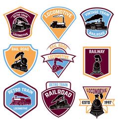 Set emblems with vintage train retro rail road vector
