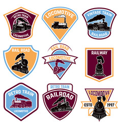 Set of emblems with vintage train retro rail road vector
