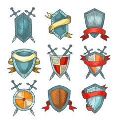 Shield and sword medieval heraldic armor sketch vector