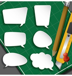 Speech Bubble Paper Cut With Pencil And Cutter On vector