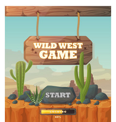 start screen for wild west web or mobile game vector image
