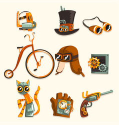 steampunk objects and mechanism set antique vector image