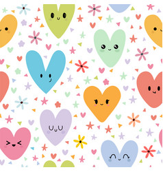 sweet seamless pattern with colored smiley hearts vector image