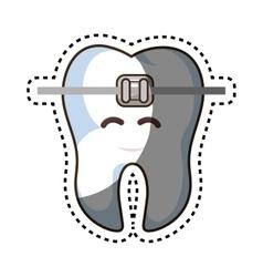 teeth funny character with braket kawaii style vector image