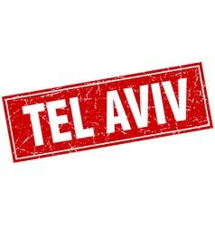 Tel Aviv red square grunge vintage isolated stamp vector