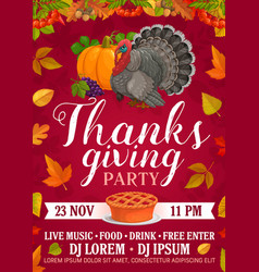 thanksgiving party flyer with pie or turkey vector image