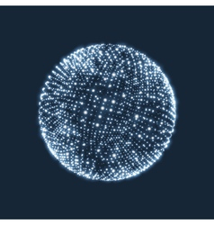 The sphere consisting points 3d glowing grid vector