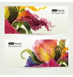 Two floral watercolor banners with iris flowers vector image