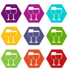 two glasses of wine icon set color hexahedron vector image