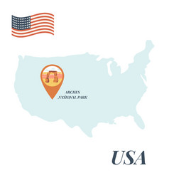 Usa map arches national park pin travel concept vector